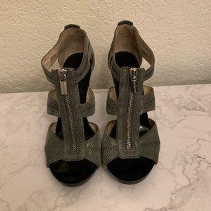 Michael Kors: Gray Snake Print Zip Up Heels Size 7